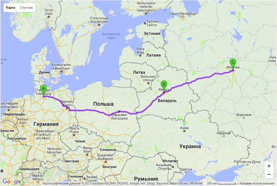 Грузоперевозки по маршруту Гамбург - Минск - Москва