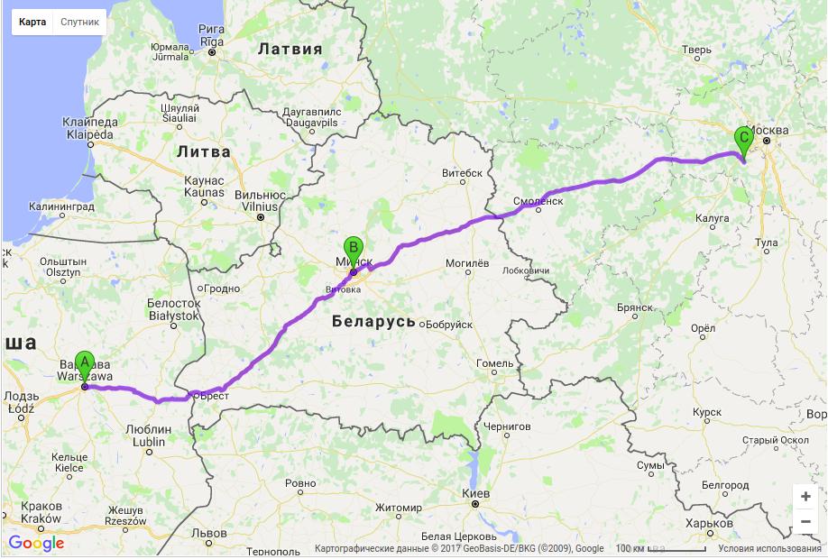 Грузоперевозки по маршруту Польша - Беларусь - Россия