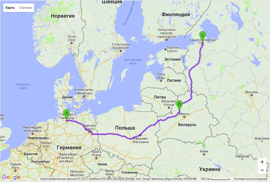Грузоперевозки по маршруту Гамбург Молодечно - Санкт-Петербург