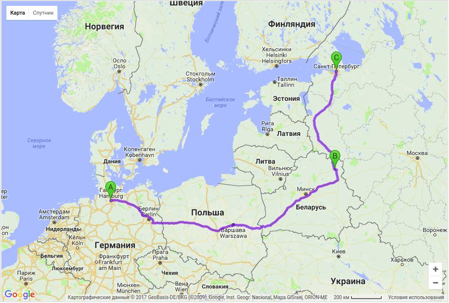Грузодоставка по маршруту Гамбург - Витебск - Санкт-Петербург