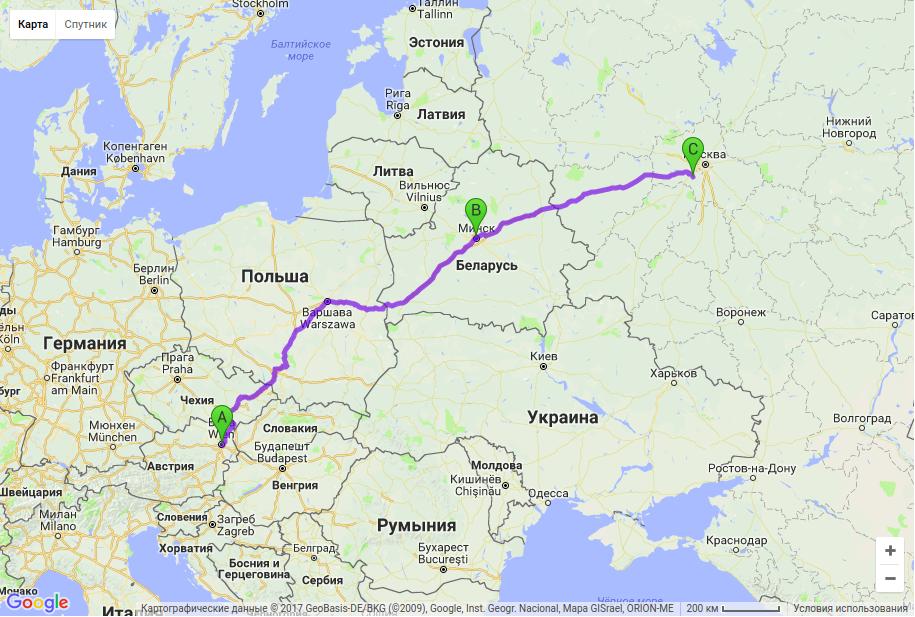 Грузоперевозки по маршруту Австрия - Беларусь - Россия
