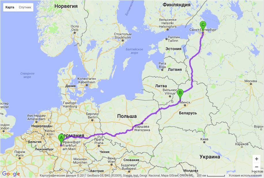 Грузоперевозки по маршруту Франкфурт - Молодечно - Санкт-Петербург