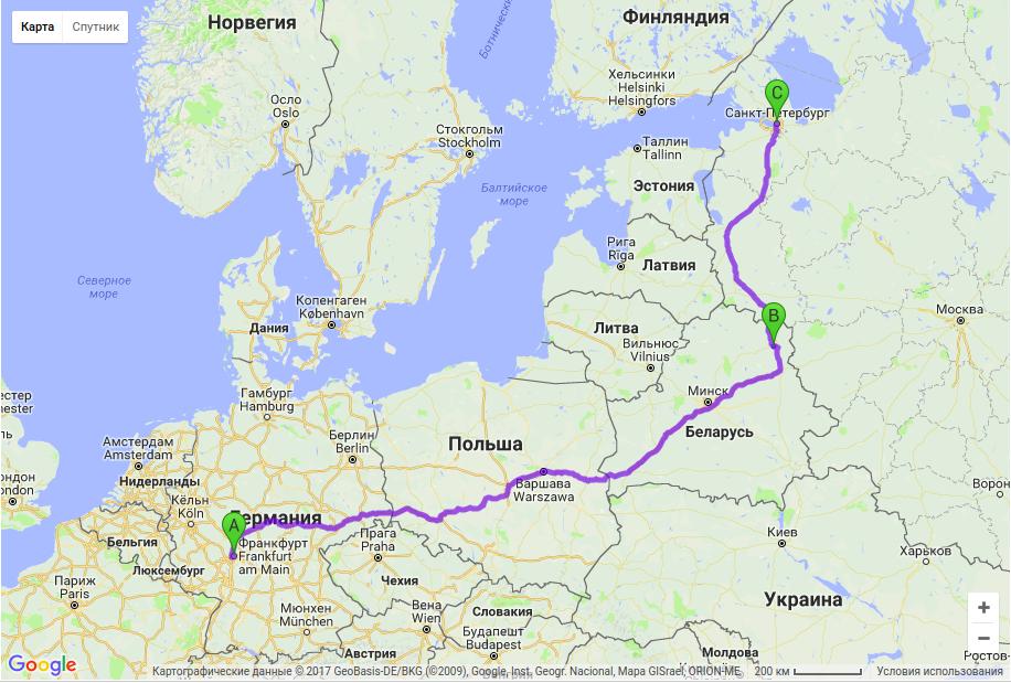 Грузоперевозки по маршруту Франкфурт - Витебск - Санкт-Петербург