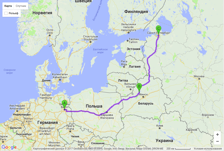 Грузоперевозки по маршруту Берлин - Молодечно - Санкт-Петербург