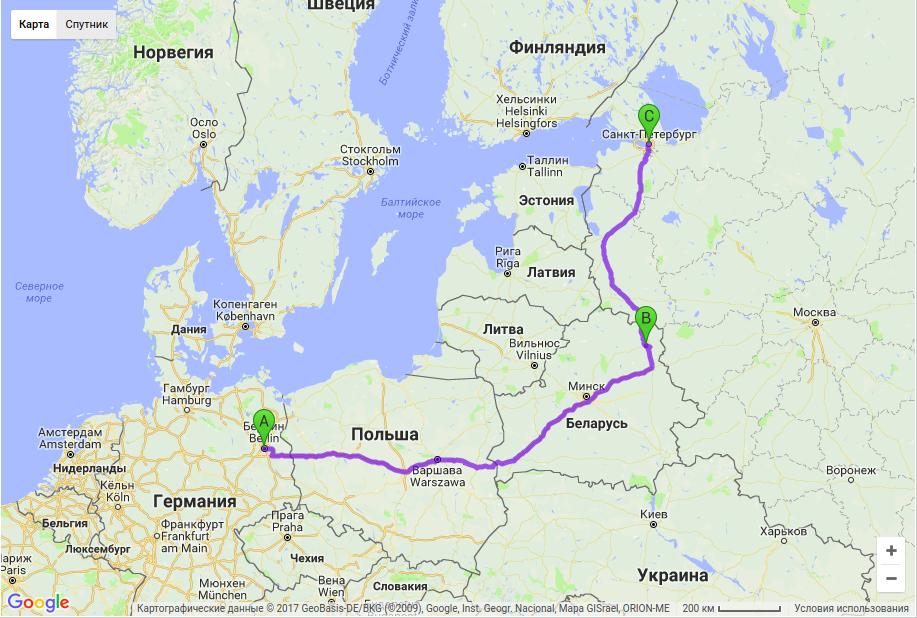 Грузоперевозки по маршруту Берлин - Витебск - Санкт-Петербург