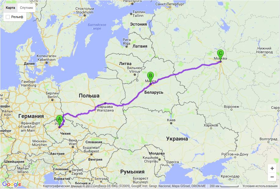 Доставка грузов по маршруту Прага - Минск - Москва, Перевозка груза по маршруту Прага ? Минск ? Москва