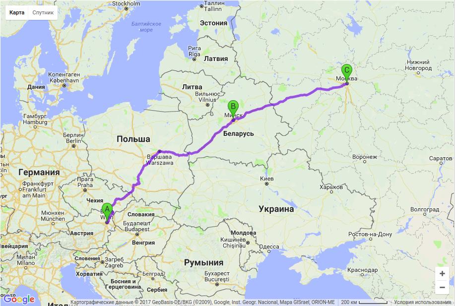 Грузоперевозки по маршруту Вена - Минск - Москва