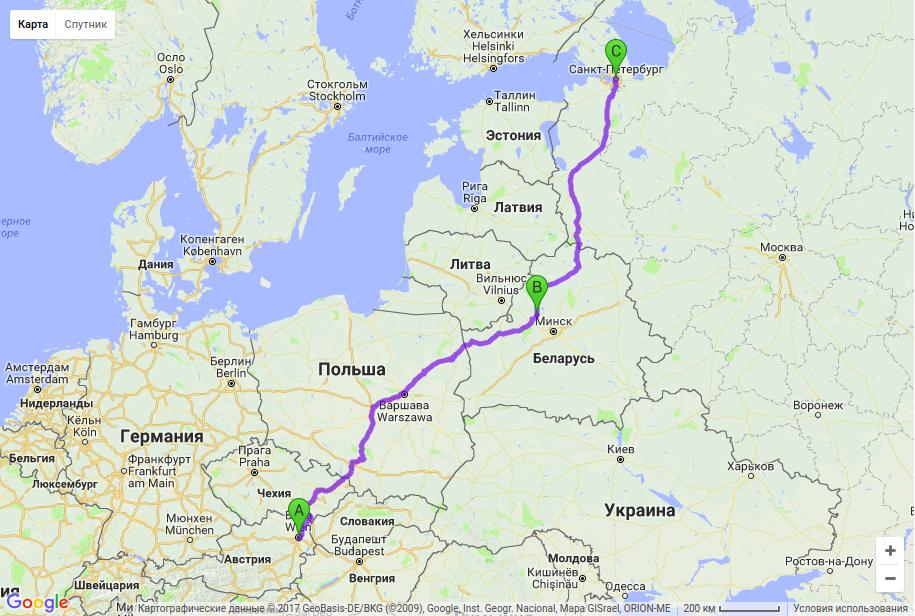 Грузоперевозки по маршруту Вена - Молодечно - Санкт-Петербург