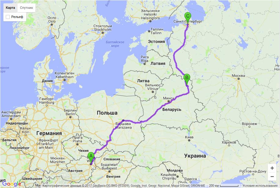 Грузоперевозки по маршруту Вена - Витебск - Санкт-Петербург