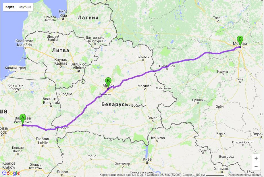 Грузоперевозки по маршруту Варшава — Минск — Москва