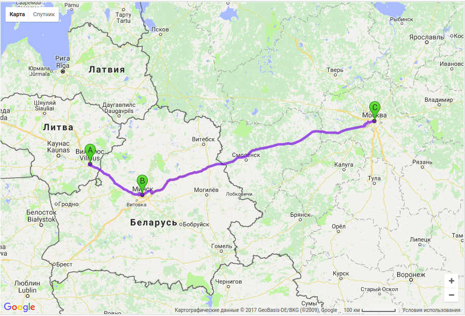 Грузоперевозки по маршруту Вильнюс - Минск - Москва