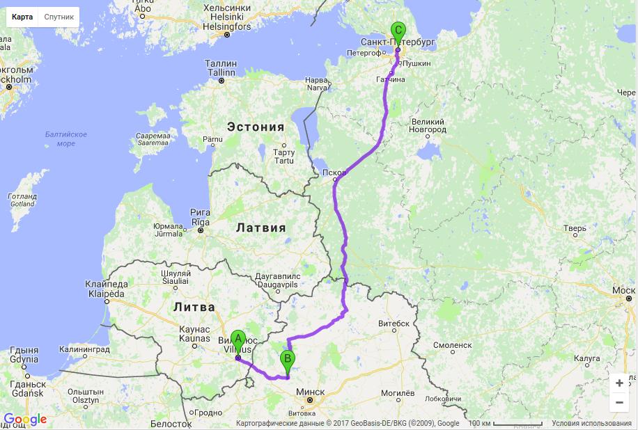 Грузоперевозки по маршруту Вильнюс - Молодечно - Санкт-Петербург