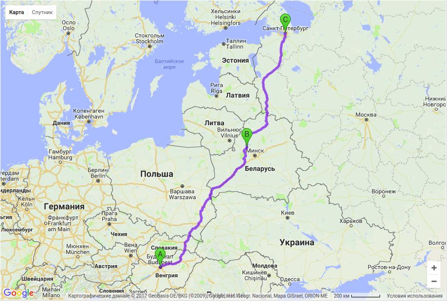 Грузоперевозки по маршруту Будапешт - Молодечно - Санкт-Петербург