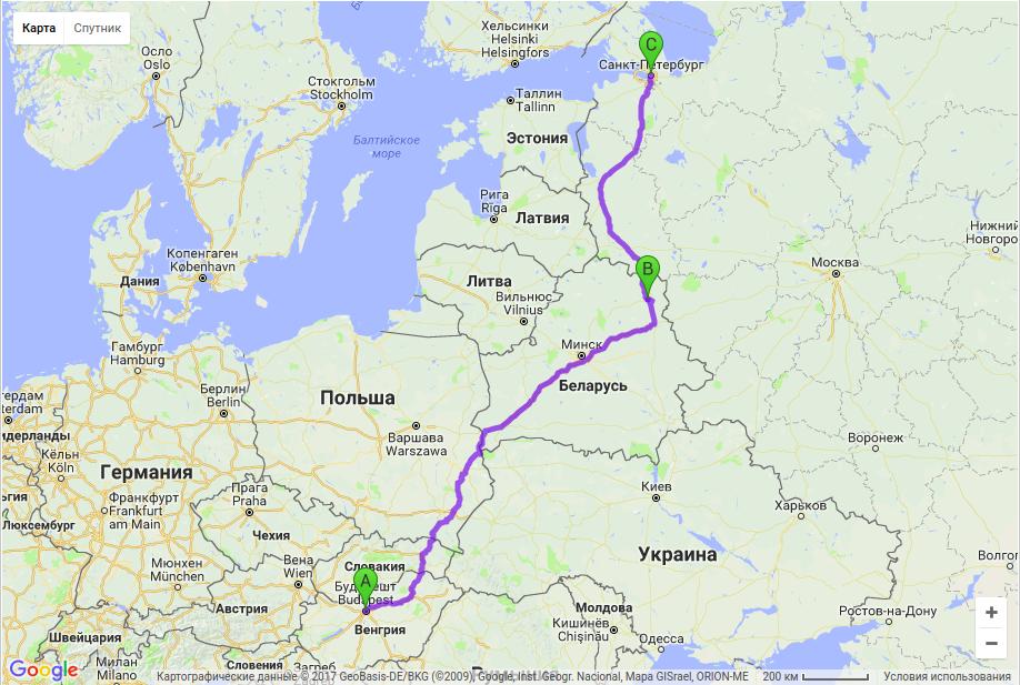Грузоперевозки по маршруту Будапешт - Витебск - Санкт-Петербург