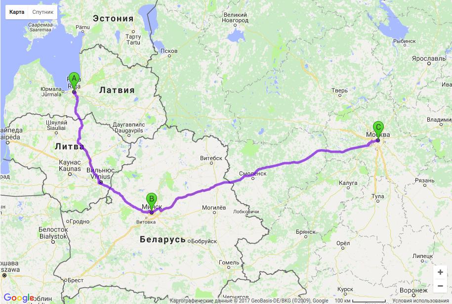 Грузоперевозки по маршруту Рига - Минск - Москва