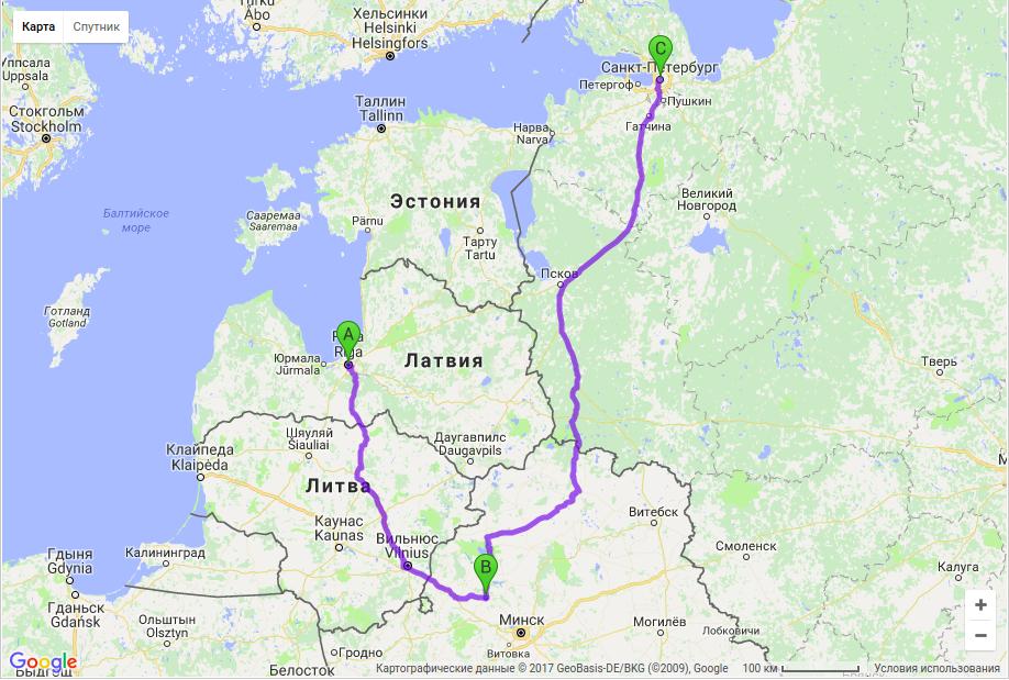 Грузоперевозки по маршруту Рига - Молодечно - Санкт-Петербург
