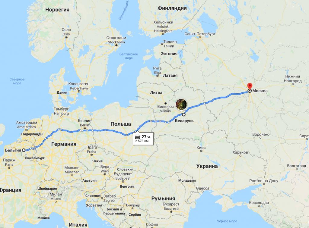 Грузоперевозки по маршруту Бельгия - Беларусь - Россия